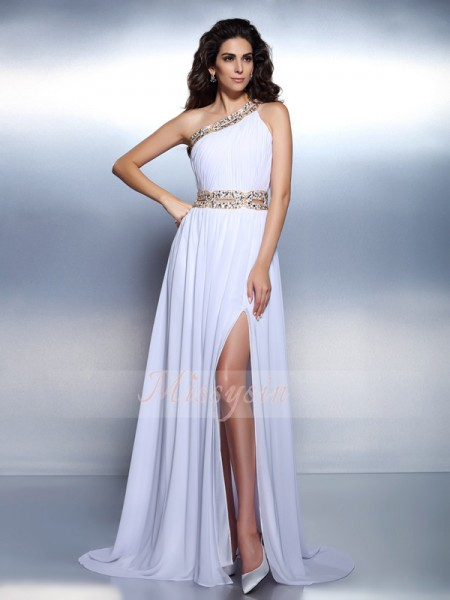 A-Line/Princess One-Shoulder Chiffon Beading Sleeveless Floor-Length Dresses