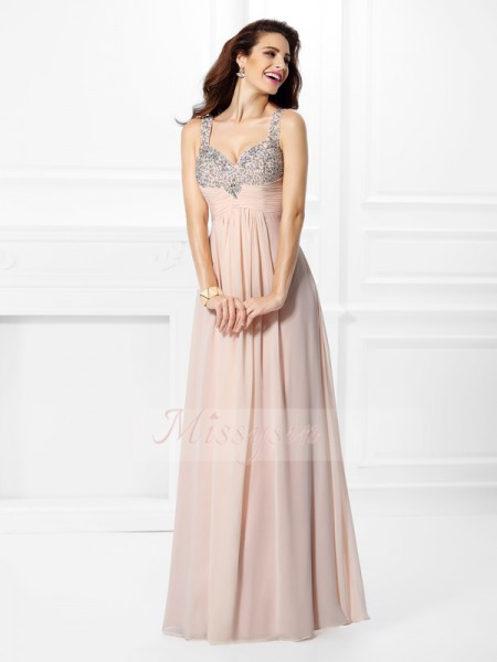 A-Line/Princess Straps Chiffon Beading Sleeveless Floor-Length Dresses