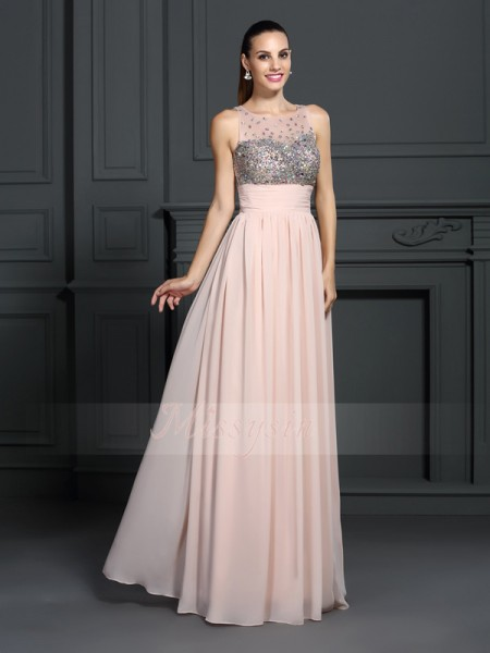 A-Line/Princess Bateau Chiffon Beading Sleeveless Floor-Length Dresses
