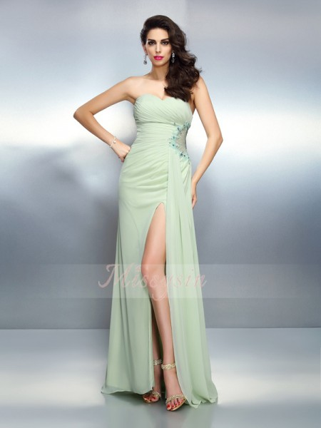A-Line/Princess Sweetheart Chiffon Pleats Sleeveless Floor-Length Dresses