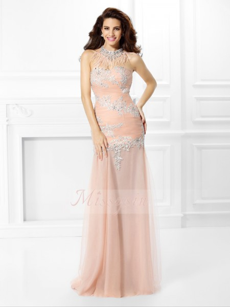 Trumpet/Mermaid Sweetheart Chiffon Applique,Lace Sleeveless Floor-Length Dresses