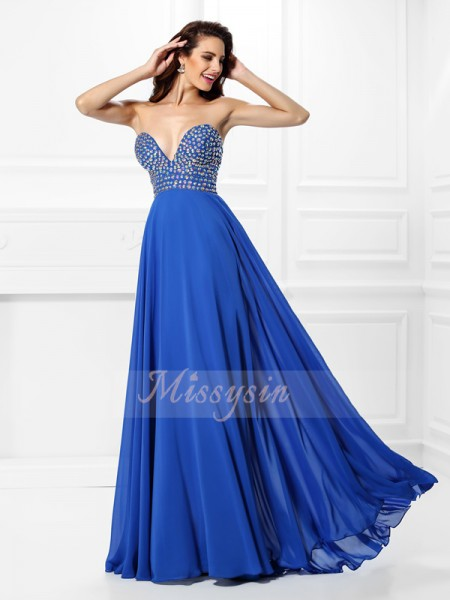 A-Line/Princess V-neck Chiffon Beading Sleeveless Floor-Length Dresses