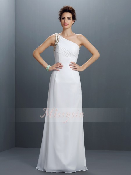 Sheath/Column One-Shoulder Chiffon Beading Sleeveless Floor-Length Dresses
