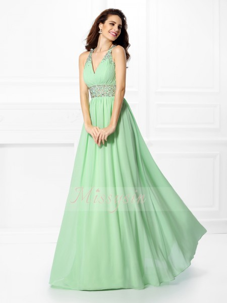 A-Line/Princess V-neck,Straps Chiffon Beading Sleeveless Floor-Length Dresses