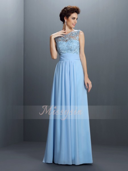 A-Line/Princess Bateau Chiffon Applique Sleeveless Floor-Length Dresses