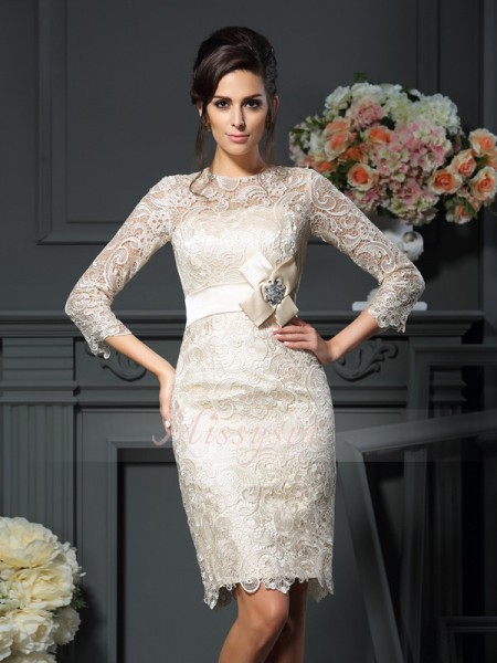 Sheath/Column Scoop Lace Bowknot 3/4 Sleeves Short/Mini Mother of the Bride Dresses