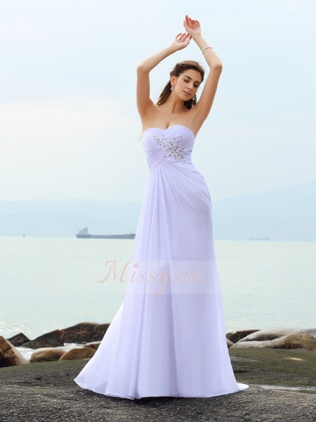 Sheath/Column Sweetheart Chiffon Beading Sleeveless Chapel Train Wedding Dresses