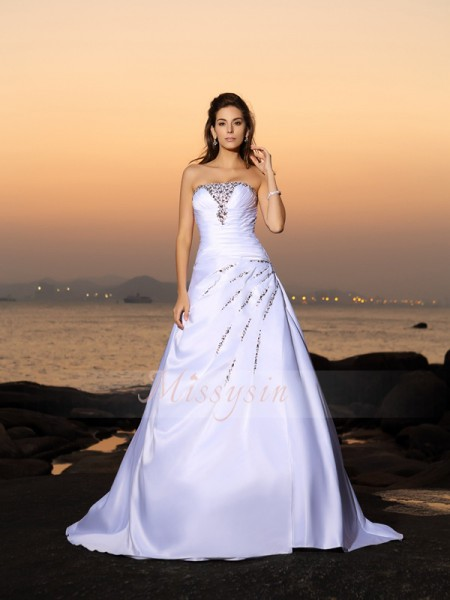 A-Line/Princess Strapless Satin Beading Sleeveless Chapel Train Wedding Dresses