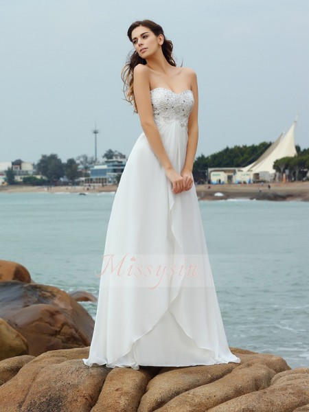 A-Line/Princess Sweetheart Chiffon Beading Sleeveless Floor-Length Wedding Dresses