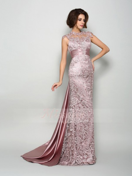 A-Line/Princess High Neck Elastic Woven Satin Sleeveless Court Train Mother of the Bride Dresses