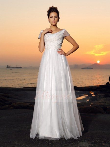 A-Line/Princess Off-the-Shoulder Tulle Beading Short Sleeves Floor-Length Wedding Dresses