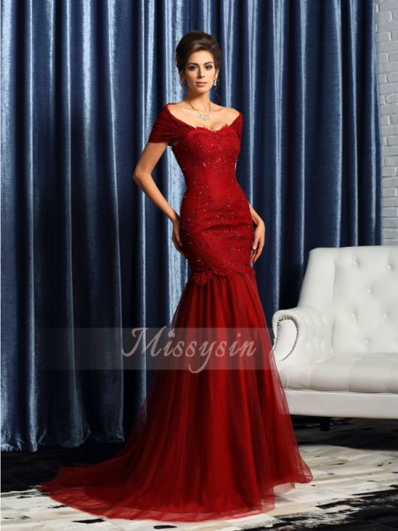 Trumpet/Mermaid Off-the-Shoulder Satin Beading Short Sleeves Sweep/Brush Train Mother of the Bride Dresses
