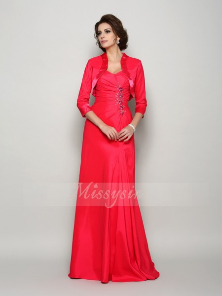 A-Line/Princess Straps Elastic Woven Satin Applique Sleeveless Sweep/Brush Train Mother of the Bride Dresses