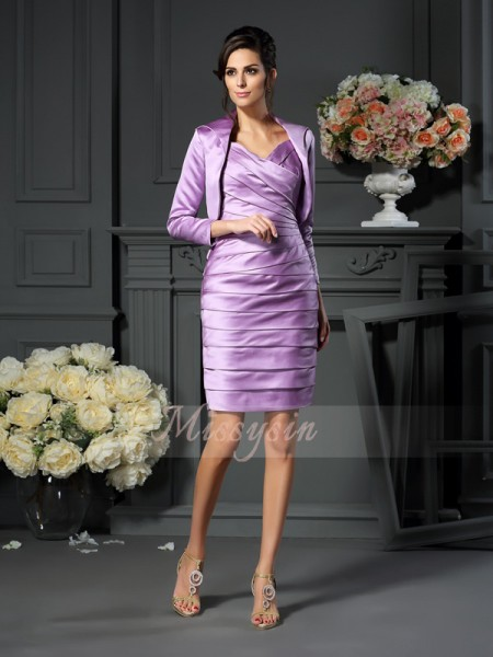Sheath/Column Straps Satin Ruched Sleeveless Knee-Length Mother of the Bride Dresses