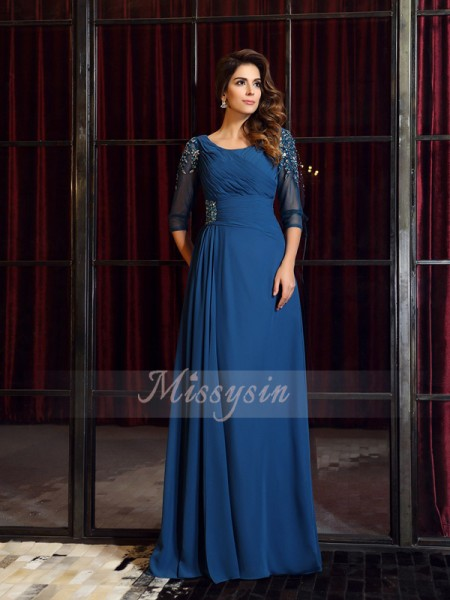 A-Line/Princess Square Chiffon Ruched 1/2 Sleeves Floor-Length Dresses