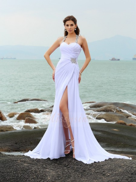 Sheath/Column Chiffon Chapel Train Straps Sleeveless Beading Wedding Dresses