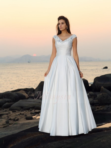 A-Line/Princess Taffeta Floor-Length V-neck Sleeveless Beading,Applique Wedding Dresses