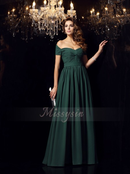 A-Line/Princess Chiffon Floor-Length Off-the-Shoulder Sleeveless Ruched Dresses