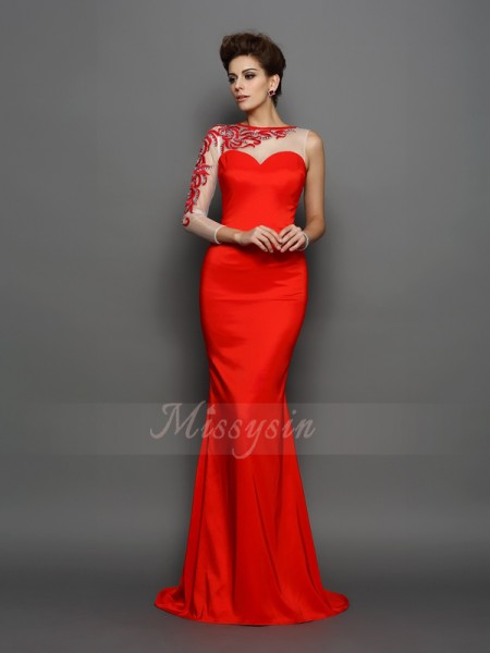 Trumpet/Mermaid Elastic Woven Satin Court Train High Neck Long Sleeves Embroidery Dresses