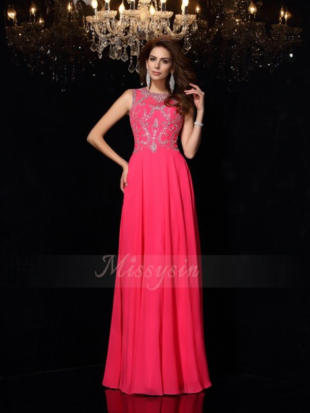 A-Line/Princess Chiffon Floor-Length Scoop Sleeveless Beading Dresses