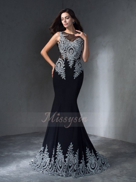 Trumpet/Mermaid Sleeveless Scoop Applique Chiffon Sweep/Brush Train Dresses