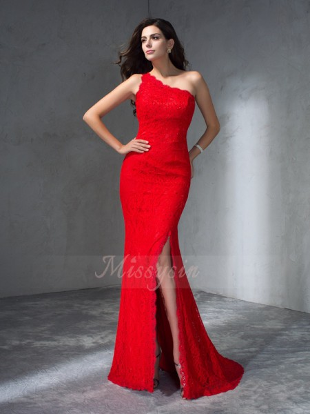 Trumpet/Mermaid Sleeveless One-Shoulder Lace Sweep/Brush Train Dresses