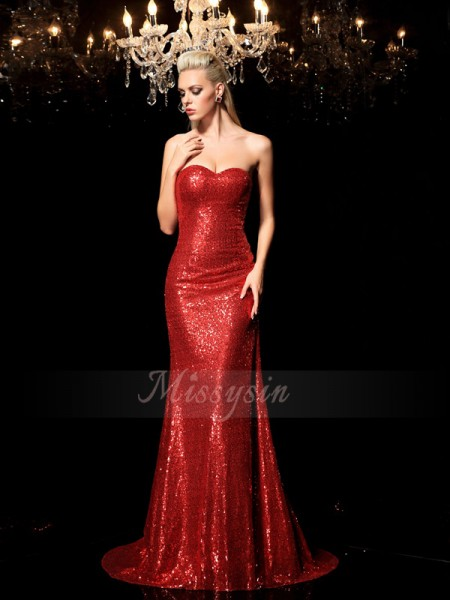Sheath/Column Sleeveless Sweetheart Sequin Sequins Sweep/Brush Train Dresses