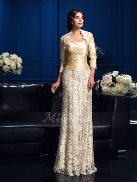 A-Line/Princess Sleeveless Strapless Lace Floor-Length Mother of the Bride Dresses