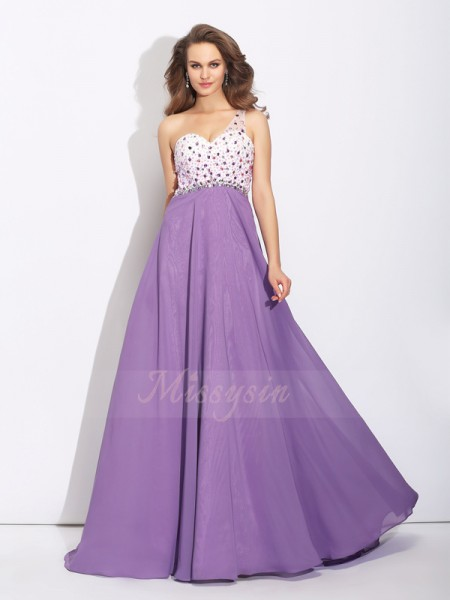 A-Line/Princess Sleeveless One-Shoulder Crystal Chiffon Sweep/Brush Train Dresses