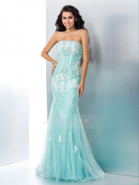 Trumpet/Mermaid Sleeveless Strapless Applique Lace Floor-Length Dresses