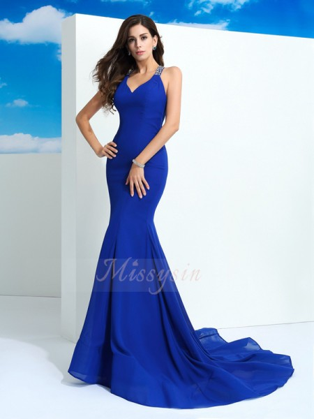 Sheath/Column Sleeveless Straps Beading Chiffon Court Train Dresses