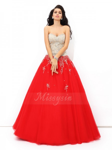 Ball Gown Sleeveless Sweetheart Beading Satin Floor-Length Quinceanera Dresses