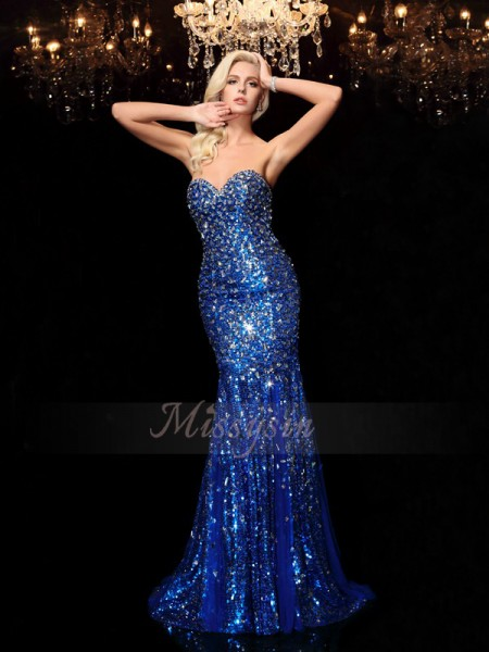 Trumpet/Mermaid Sleeveless Sweetheart Sequin Sequins Sweep/Brush Train Dresses