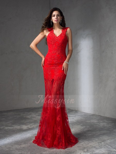 Trumpet/Mermaid Sleeveless V-neck Applique Satin Sweep/Brush Train Dresses