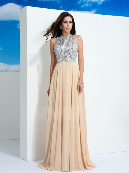 A-Line/Princess Sleeveless Scoop Paillette Chiffon Sweep/Brush Train Dresses