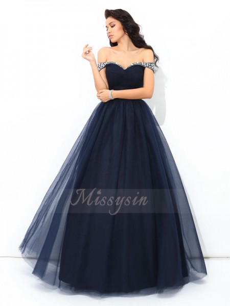 Ball Gown Sleeveless Off-the-Shoulder Beading Net Floor-Length Quinceanera Dresses