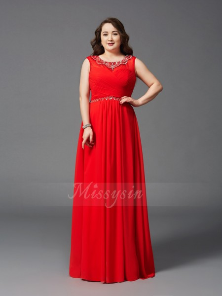 A-Line/Princess Sleeveless Scoop Beading Chiffon Floor-Length Plus Size Dresses