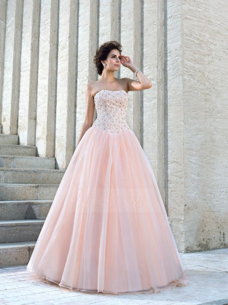 Ball Gown Sleeveless Strapless Beading Satin Floor-Length Wedding Dresses