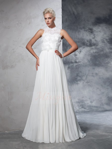 A-Line/Princess Sleeveless High Neck Pleats Chiffon Court Train Wedding Dresses