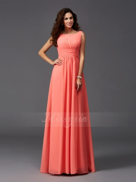 A-Line/Princess Sleeveless Scoop Ruffles Chiffon Sweep/Brush Train Bridesmaid Dresses