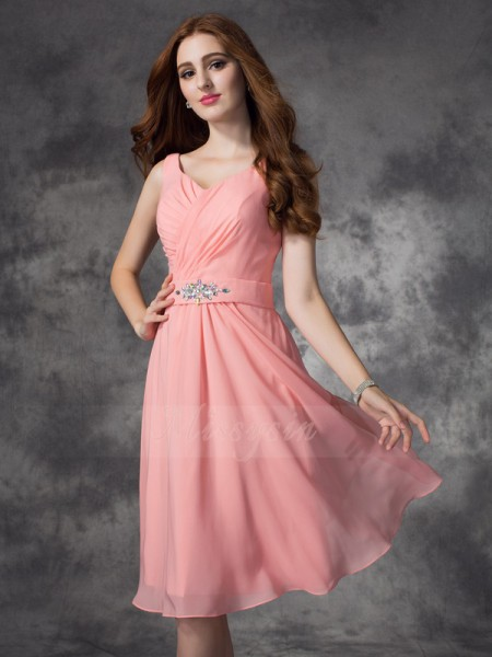 A-line/Princess Sleeveless Straps Rhinestone Chiffon Knee-Length Bridesmaid Dresses