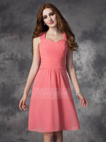A-line/Princess Sleeveless Straps Ruched Chiffon Knee-Length Bridesmaid Dresses
