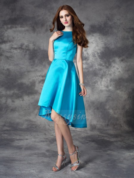 A-line/Princess Sleeveless Bateau Ruffles Satin Asymmetrical Bridesmaid Dresses