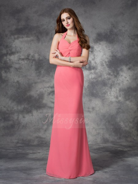 Sheath/Column Sleeveless Halter Ruched Chiffon Floor-length Bridesmaid Dresses