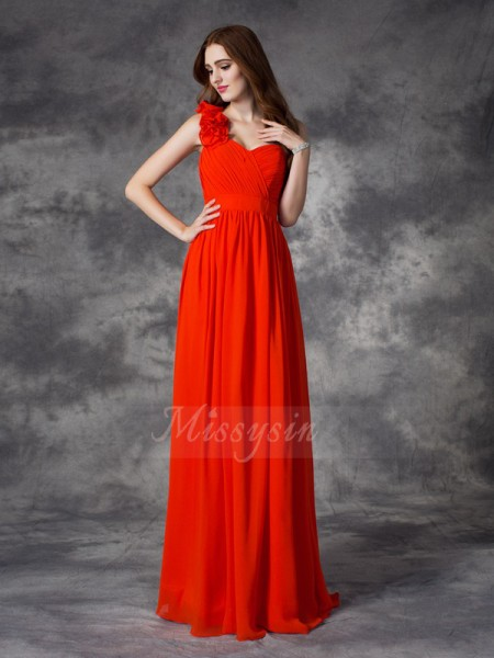 A-line/Princess Sleeveless One-Shoulder Hand-Made Flower Chiffon Floor-length Bridesmaid Dresses