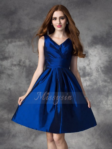 A-line/Princess Sleeveless V-neck Ruched Taffeta Short/Mini Bridesmaid Dresses