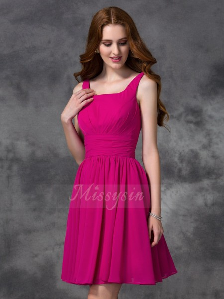 A-line/Princess Sleeveless Square Chiffon Short/Mini Bridesmaid Dresses