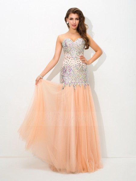 Trumpet/Mermaid Sleeveless Sweetheart Beading Net Floor-Length Dresses