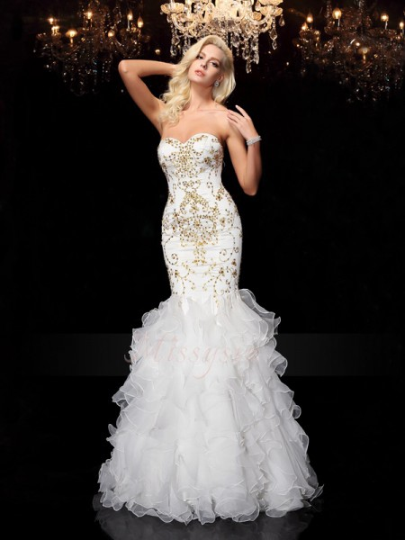 Trumpet/Mermaid Sleeveless Sweetheart Beading Organza Floor-Length Dresses