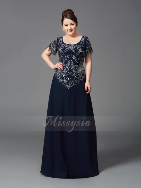 A-Line/Princess Short Sleeves Square Chiffon Floor-Length Mother of the Bride Dresses, Plus Size